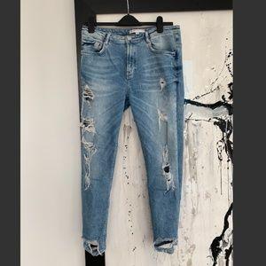 Zara TRF High Waisted Distressed Boyfriend Jeans